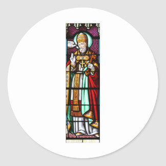 Pope Saint Gregory the Great - Stained Glass Classic Round Sticker