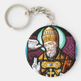 Pope Saint Gregory the Great - Stained Glass Basic Round Button Keychain