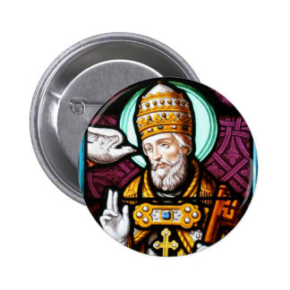 Pope Saint Gregory the Great - Stained Glass Pinback Button