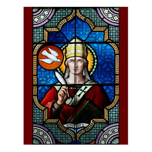 Pope Saint Gregory the Great - Stained Glass Postcard