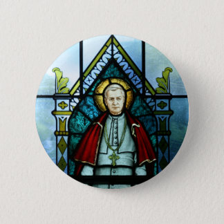 Pope Saint Pius X Stained Glass Art Button