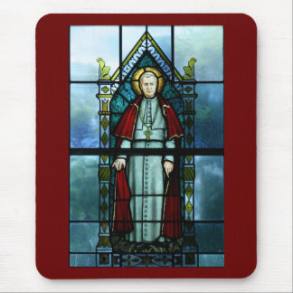 Pope Saint Pius X Stained Glass Art Mouse Pad