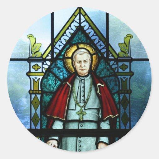 Pope Saint Pius X Stained Glass Art Classic Round Sticker