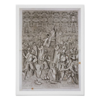 Pope Sixtus V (1521-90) is carried to the Ceremony Poster
