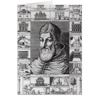 Pope Sixtus V, surrounded by the churches Cards