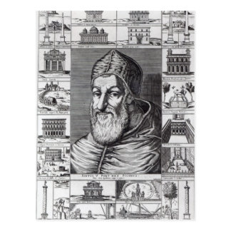 Pope Sixtus V, surrounded by the churches Post Card