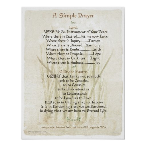 POPE=ST. FRANCIS SIMPLE PRAYER for PEACE PRAYER Posters