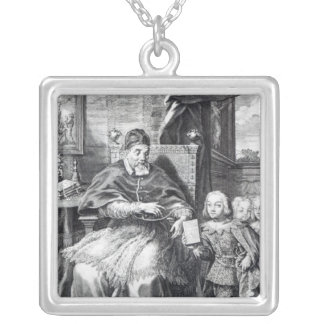 Pope Urban VIII with his nephews Square Pendant Necklace