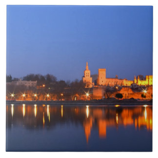 Pope's Palace in Avignon and the Rhone river at Ceramic Tile