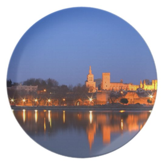 Pope's Palace in Avignon and the Rhone river at Dinner Plate