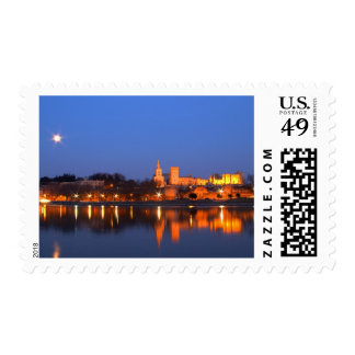 Pope's Palace in Avignon and the Rhone river at Postage