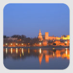 Pope's Palace in Avignon and the Rhone river at Square Sticker