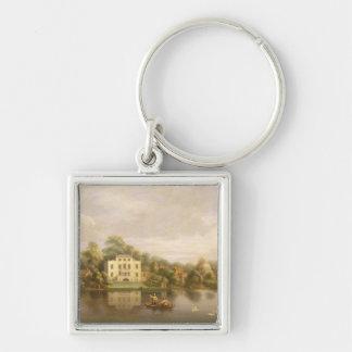 Pope's Villa, Twickenham, c.1765 (oil on canvas) Silver-Colored Square Keychain