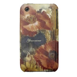 Popies pintado iPhone 3 Case-Mate carcasas
