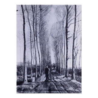 Poplar avenue by Vincent van Gogh Print