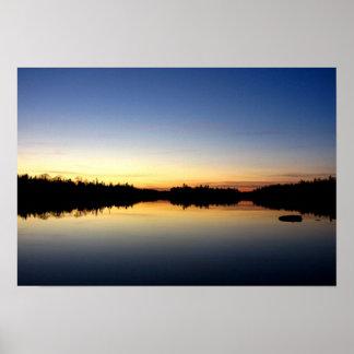 Poplar Lake Blue Sunset Posters