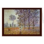Poplars In Sunlight By Claude Monet Card