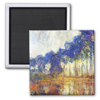 Poplars on the Banks of the River Epte Monet 2 Inch Square Magnet