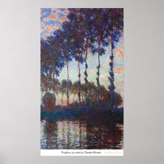 Poplars, sunset by Claude Monet Poster