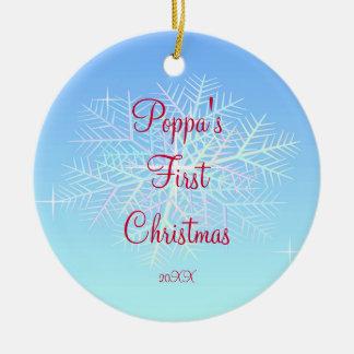 Poppa's First  Christmas Snowflake Ornament