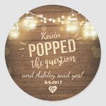 """Popped the Question Engagement favor tag Sticker<br><div class=""""desc"""">♥ Your own Sticker,  Cupcake Topper,  Favor Tag or Envelope Seal! He popped the question.</div>"""