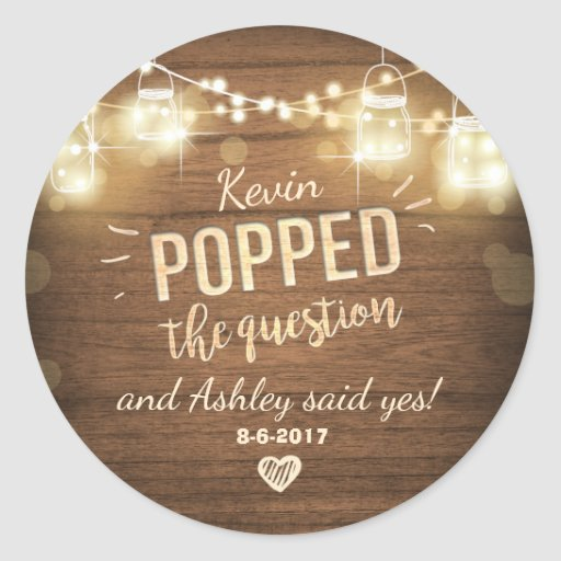 Popped the Question Engagement favor tag Sticker