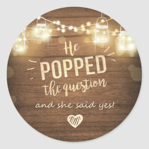 picture about He Popped the Question Printable identify Popped the Ponder Engagement like tag Sticker