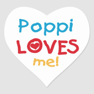 Poppi Loves Me T-shirts and Gifts Heart Sticker