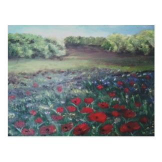 poppie field postcard
