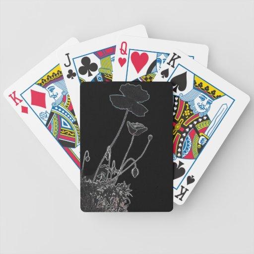 Poppie negro elegante y hermoso baraja cartas de poker