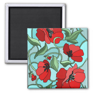 Poppies 2 Inch Square Magnet