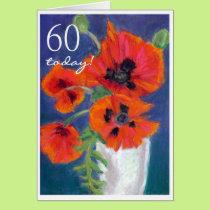 'Poppies' 60th Birthday Greeting Card