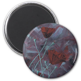 Poppies Abstract 2 Inch Round Magnet
