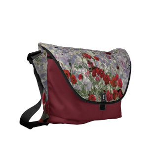 poppies abstract messenger bag