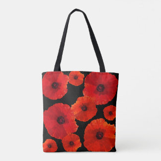 Poppies All Over Red n Black Tote