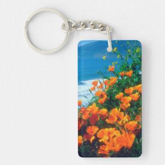 Poppies along the Pacific Coast near Big Sur Rectangular Acrylic Key Chain