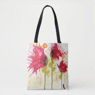 Poppies and a Bird Tote Bag