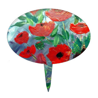 Poppies and a Clay Pot Cake Topper