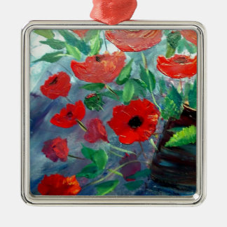 Poppies and a Clay Pot Christmas Tree Ornament
