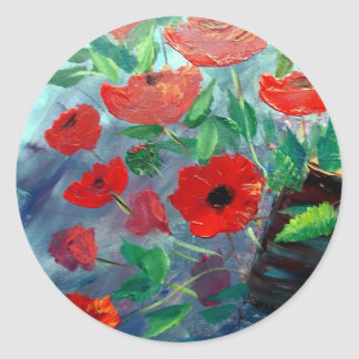 Poppies and a Clay Pot Classic Round Sticker