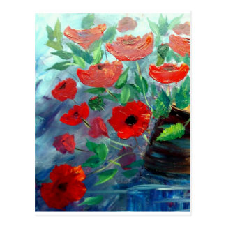 Poppies and a Clay Pot Postcard