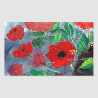 Poppies and a Clay Pot Rectangular Sticker
