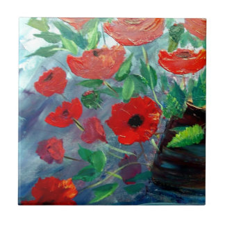 Poppies and a Clay Pot Small Square Tile