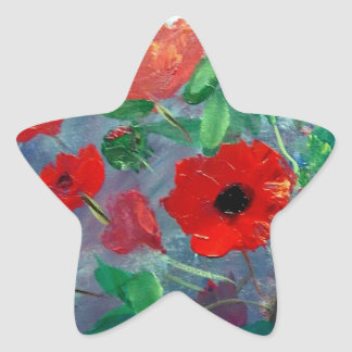 Poppies and a Clay Pot Star Sticker