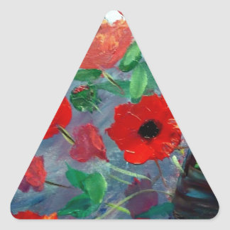 Poppies and a Clay Pot Triangle Sticker