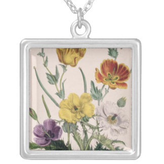 Poppies and Anemones Silver Plated Necklace