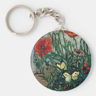 Poppies and Butterflies Van Gogh Fine Art Keychain