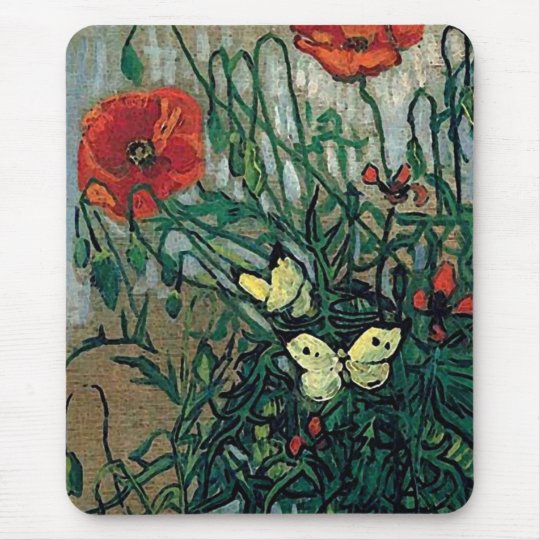 Poppies and Butterflies Van Gogh Fine Art Mouse Pad