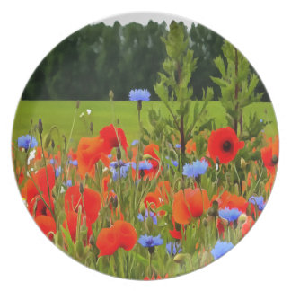 Poppies And Cornflowers Dinner Plate