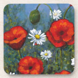 Poppies and Daisies: Floral Art, Flowers Beverage Coaster